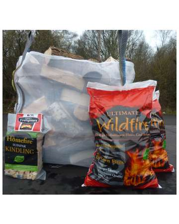 Wildfire house coal and firewood logs with kindling and firelighters bundle
