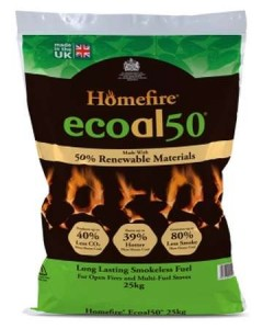 homefire ecoal50 smokeless coal 25kg bag